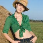 Girl on fresh hay — Stock Photo #2168339