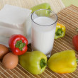 Fresh vegetables, cheese and milk — Stock Photo
