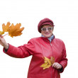 Lady in red holds an Autumn leaves — Stock Photo #2170252