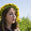 Stock Photo: Girl blowing dandelion
