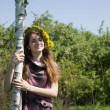 Girl near birch - Stock Photo