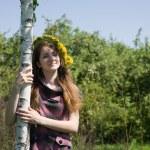 Girl near birch — Stock Photo #2179144