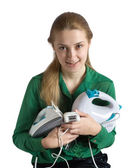 Girl with household appliances — Foto de Stock