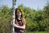 Girl near birch — Stock Photo