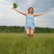 Jumping  girl — Stock Photo
