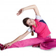 Girl in pink activewear doing fitness — Stock Photo