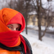 Girl in red purdah — Stock Photo
