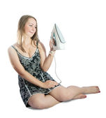 Young woman with electric iron — Stock Photo