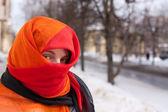 Girl in red purdah — Stock Photo