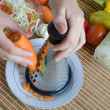 Grating of fresh carrot — Stock Photo