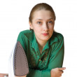 Ironing girl — Stock Photo