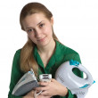 Stock Photo: Girl with household appliances