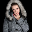 Portrait of girl in gray coat — Stock Photo