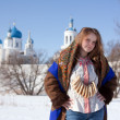 Girl in russian traditional clothes - Stock Photo