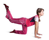Sporty girl doing aerobics — Stock Photo
