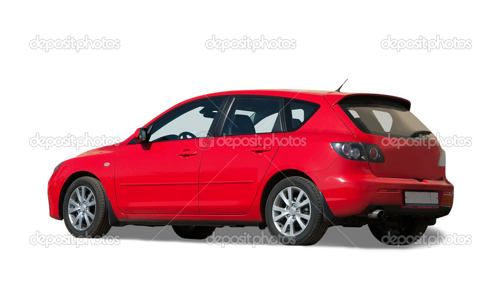 Red  car on white. Isolated whith clipping path — Stock Photo #2211525