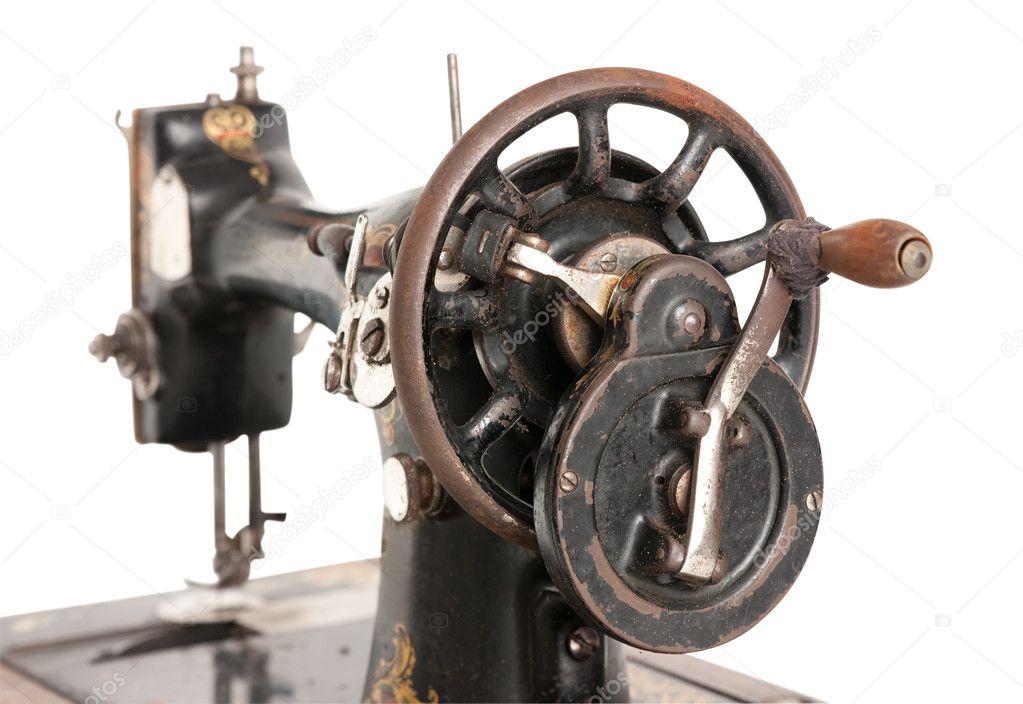 老式缝纫机被隔绝在一个白色的背景