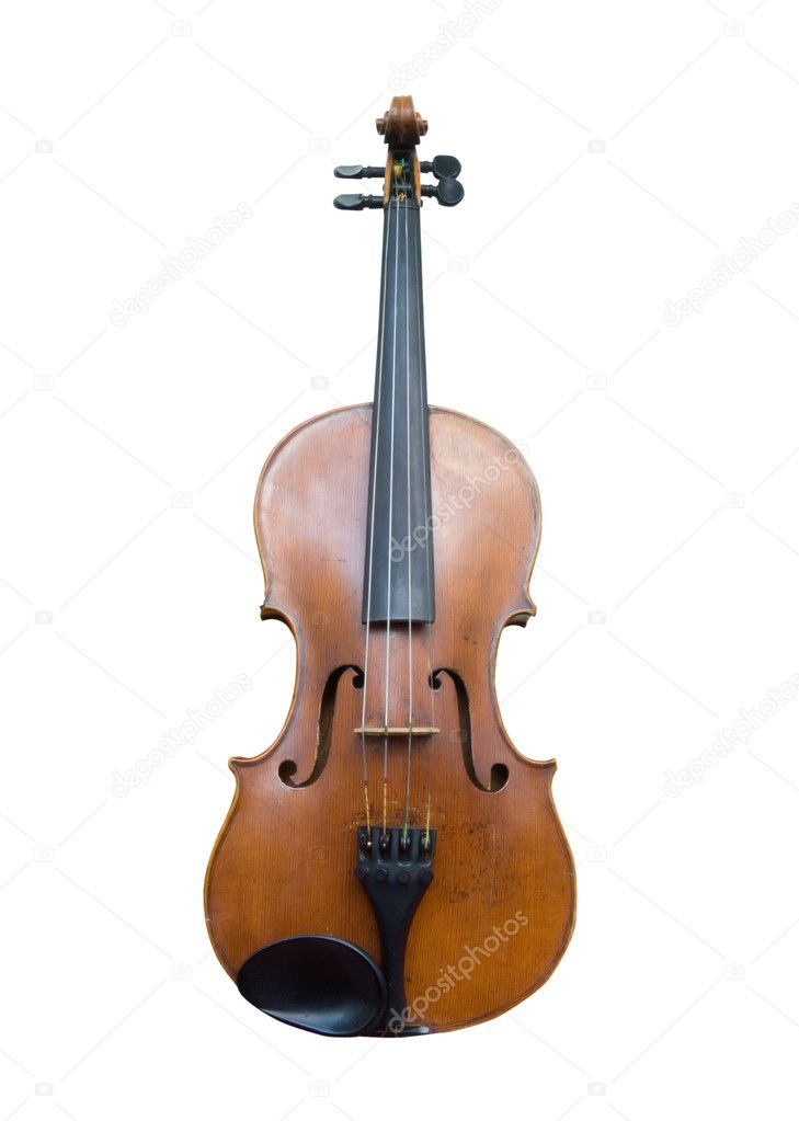 A old violin on white. Isolated with clipping path  Stock Photo #2249811