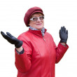 Smiling old lady in red — Stock Photo #2252570