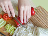 Slicing of pepper — Stock Photo