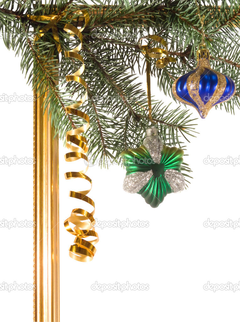 New-year borders with fir-tree on white background — Stock Photo #2251279