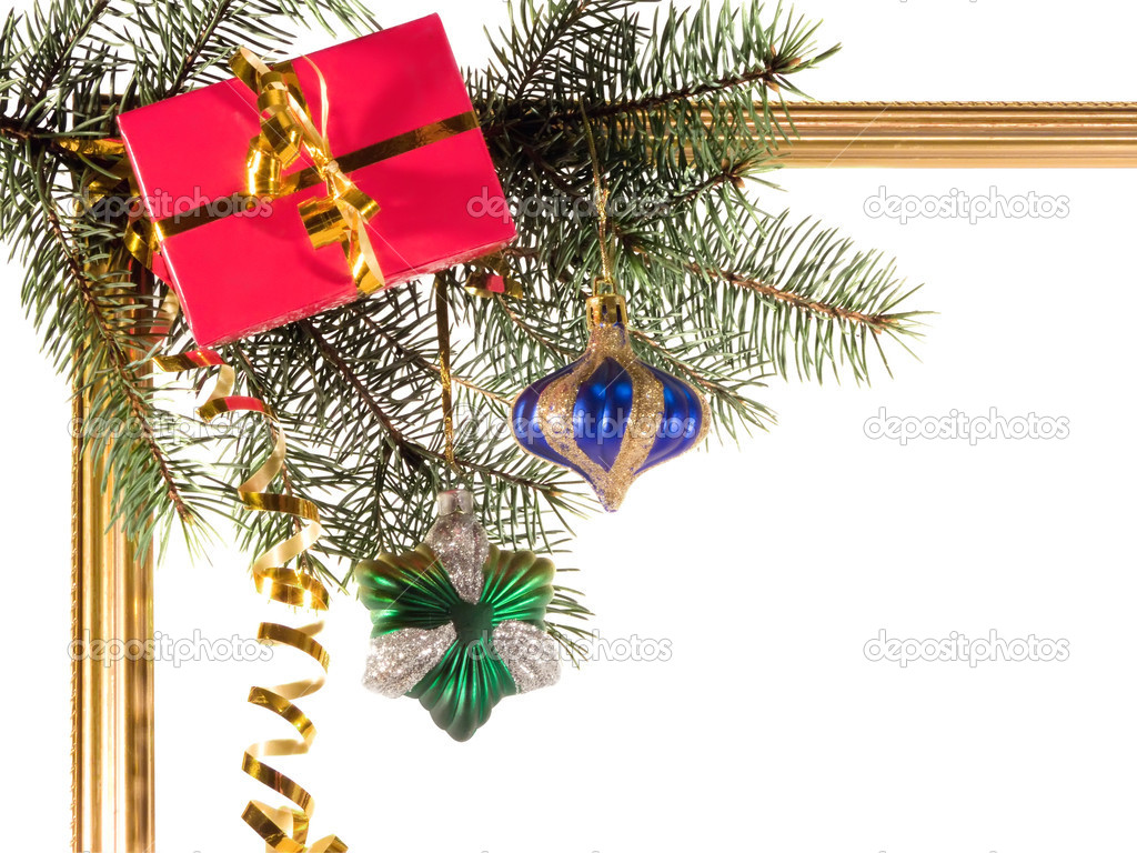 New-year borders with fir-tree on white background — Stock Photo #2251320