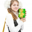 Schoolgirl with  gift box — Stock Photo