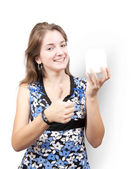 Girl with white cosmetic container — Stock Photo