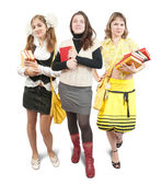Three schoolgirls or students — Stock Photo