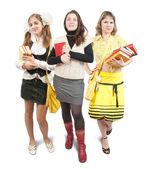 Three schoolgirls or students — Stock Photo