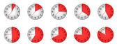 Horloge différente avec des temps différents — Photo
