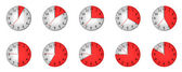 Different clock with different time — Stock Photo