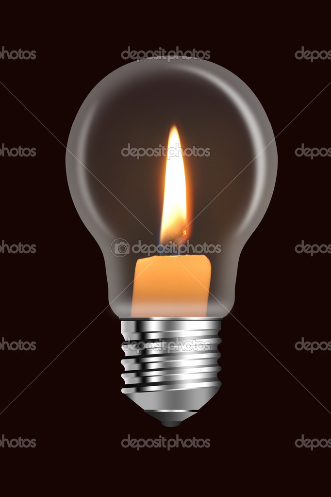 A conflagrant candle is in a electric bulb  Foto de Stock   #1118105