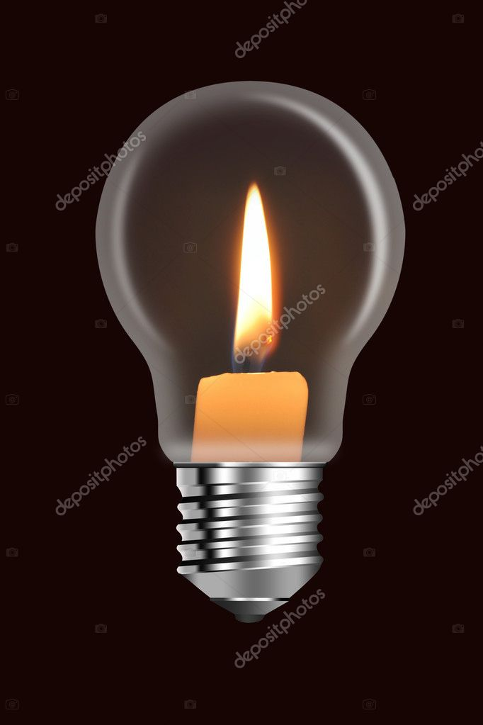A conflagrant candle is in a electric bulb — Foto Stock #1118105