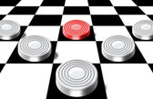 Checkers on a chess-board — Stock Photo