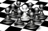 Chess figures of pawn on a board — Stock Photo