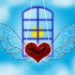 A heart flying in a window — Stock Photo