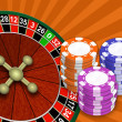 Stock Photo: Roulette and chips on abstract backgr