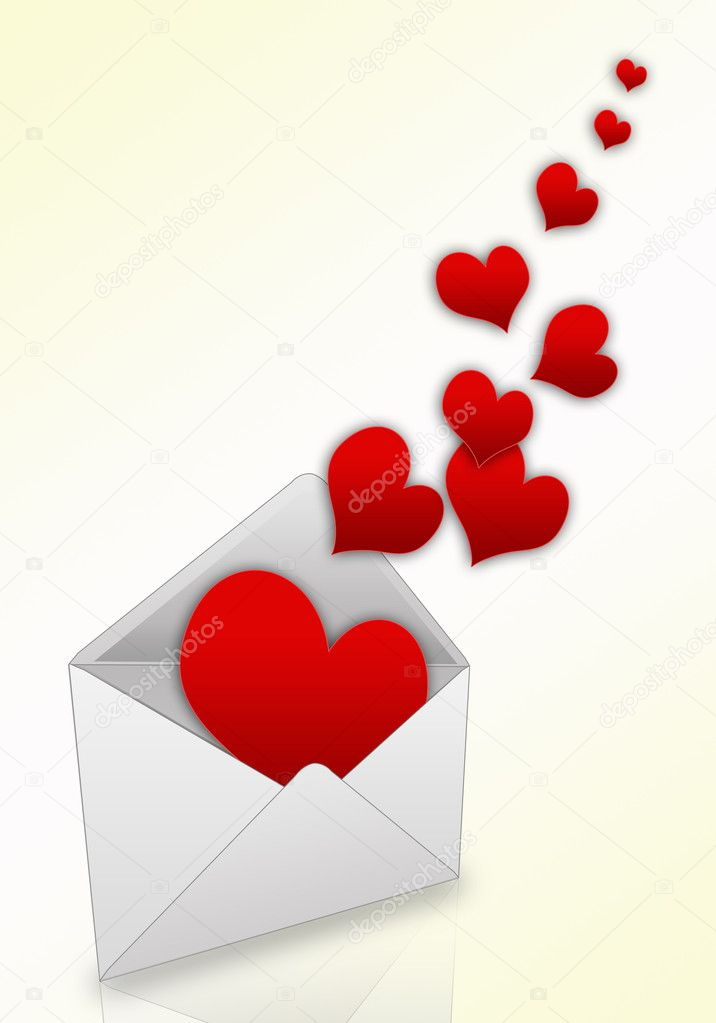 Illustration of hearts taking off from an envelope — Stock Photo #1240139