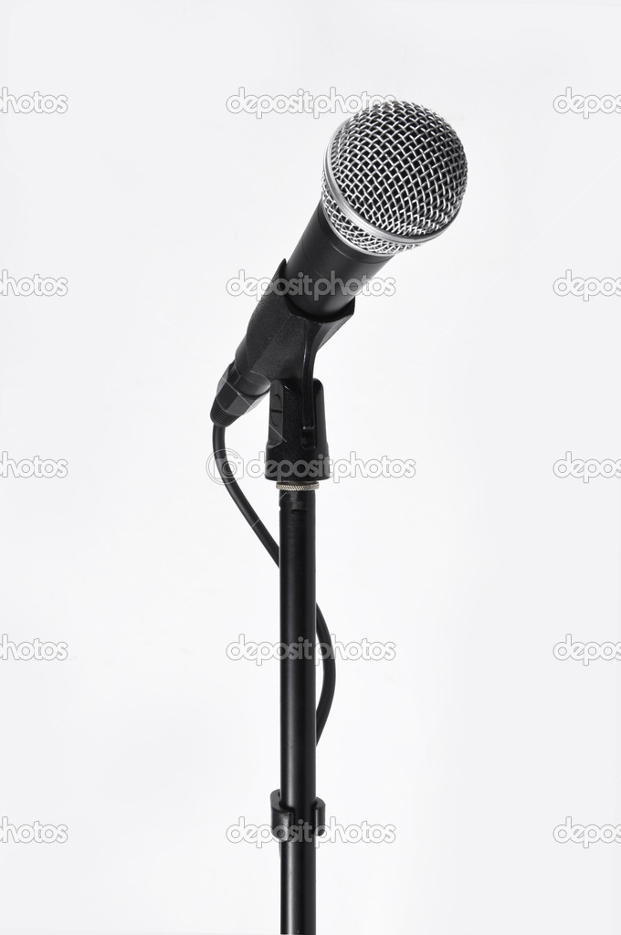 Picture of concerto microphone with a cord on a white background — Foto Stock #1528201