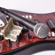 Microphone and dollar — Stock Photo