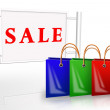 Bags near placard sale — Stock Photo #2238202