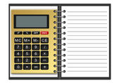 Notebook with a calculator — Stock Photo