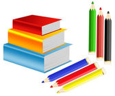 Pile of books and crayons — Stock Photo