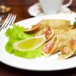 Pancakes with a salmon on a plate — Stock Photo