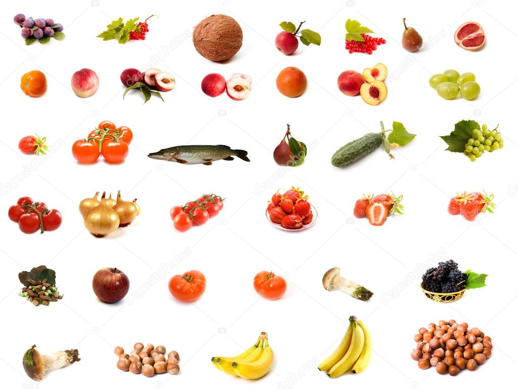 Isolated fruit and vegetable set  Foto Stock #1384979