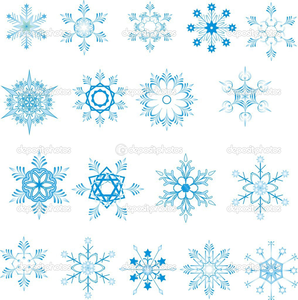Blue snowflakes on white background  — Vettoriali Stock  #1503783