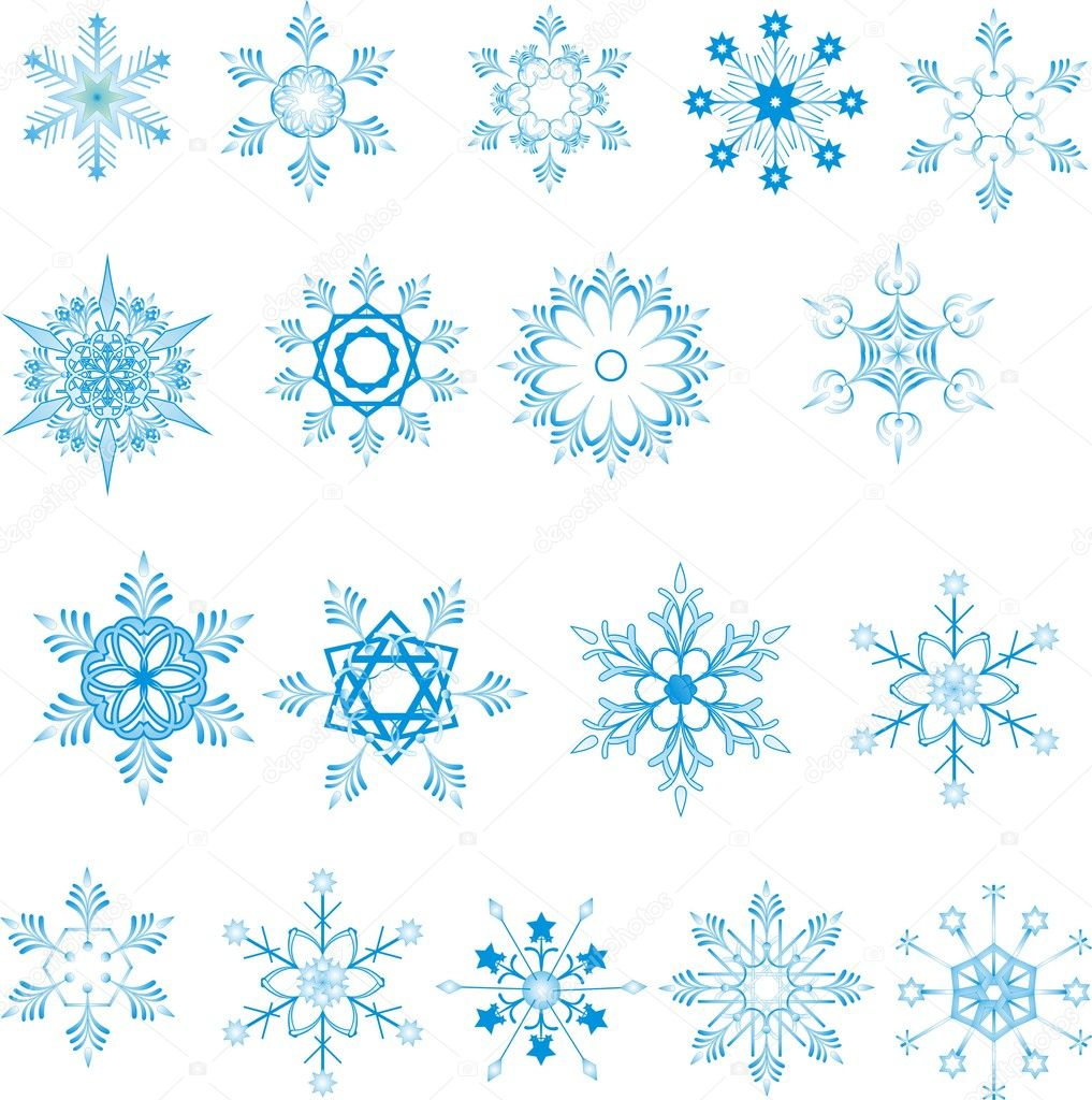 Blue snowflakes on white background  — ベクター素材ストック #1503783