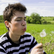 Teenager blowing dandelion — Stock Photo