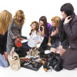 Treasures of ladies' handbags — Stock Photo